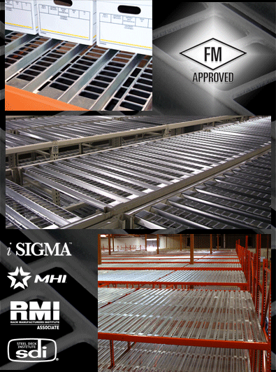 Punch Deck open area corrugated steel rack deck is FM approved